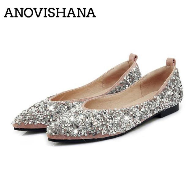 AVOVISHANA Bling Glitter women flats luxury sequined flats shoes women  ballerina flats autumn ladies flats Espadrilles A1298 0244a53d8c70