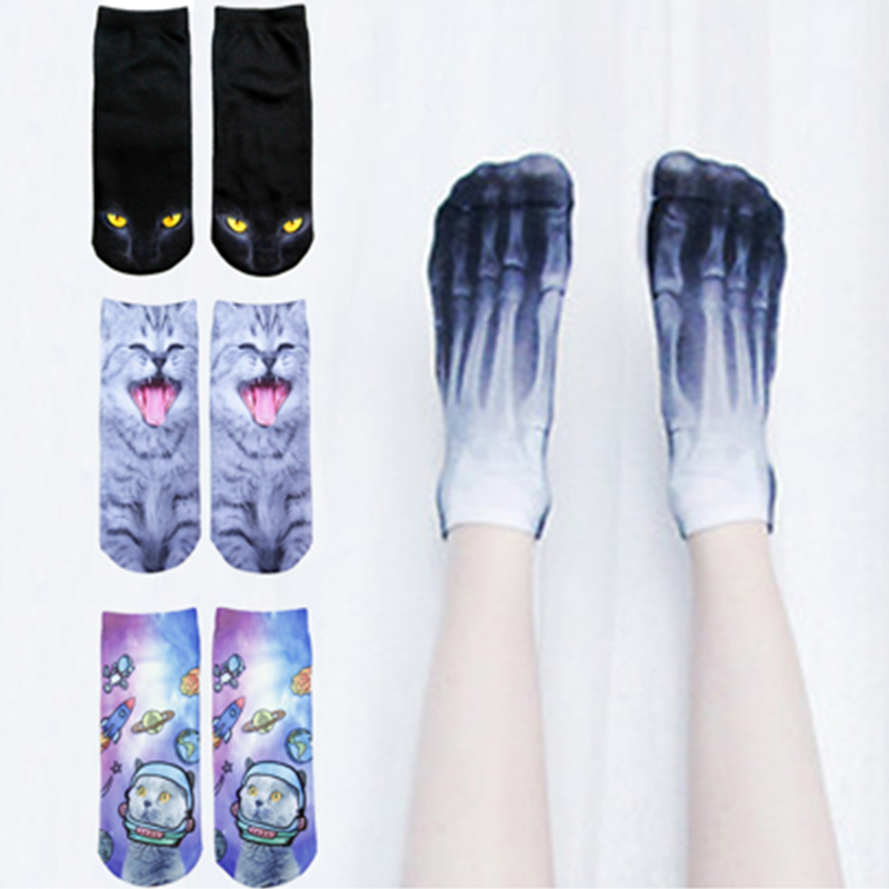 New 3D Printed Cotton Skeleton   socks   Bone short Women   socks   Terror novelty   socks   Animal cat Cute funny Low Cut Ankle   Socks   men
