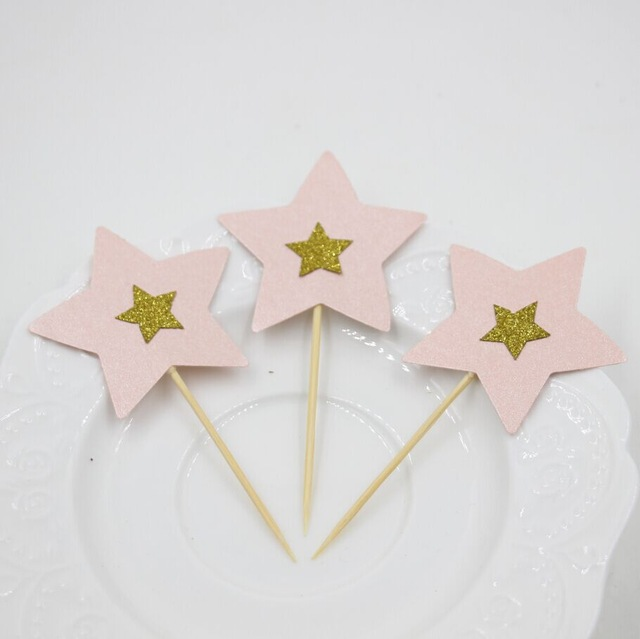 12pcs Pink and Gold Birthday Decorations Glitter Gold Star ...