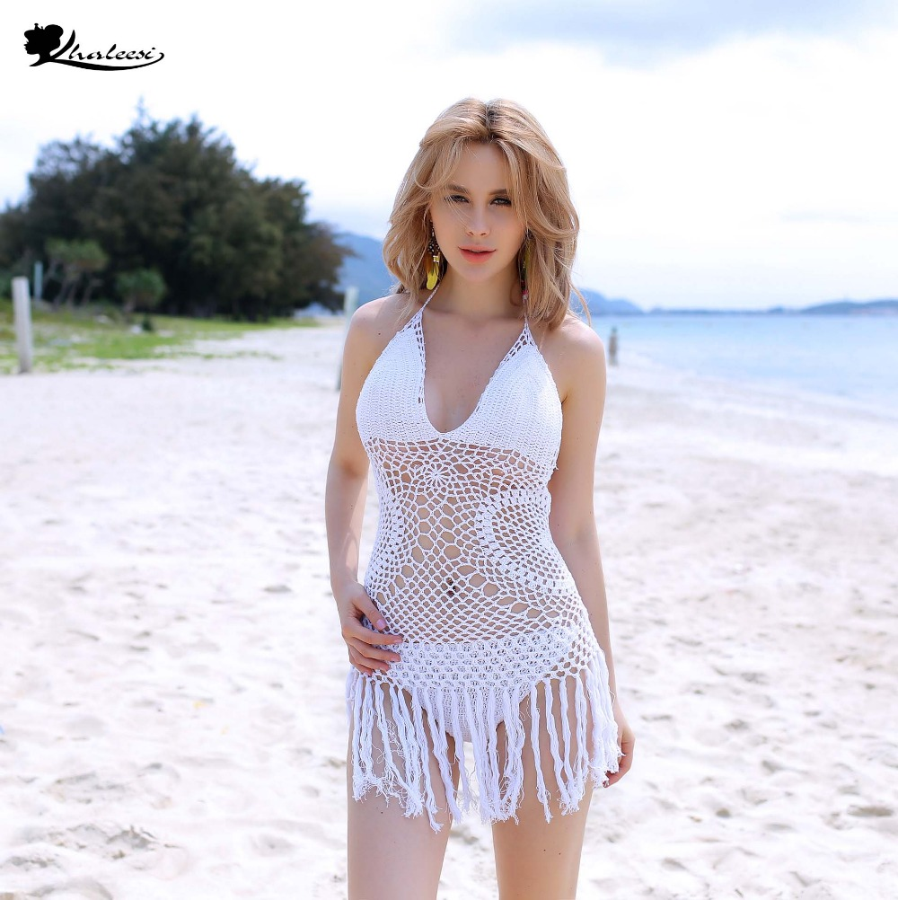 Khaleesi free shipping 2017 Crochet loose hollow out tassels top sexy beach bikini