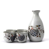 Japanese Style Hand Painted Crane Pattern Ceramic Hip Flask Office Mini Puer Tea Bowls Spirits Cup