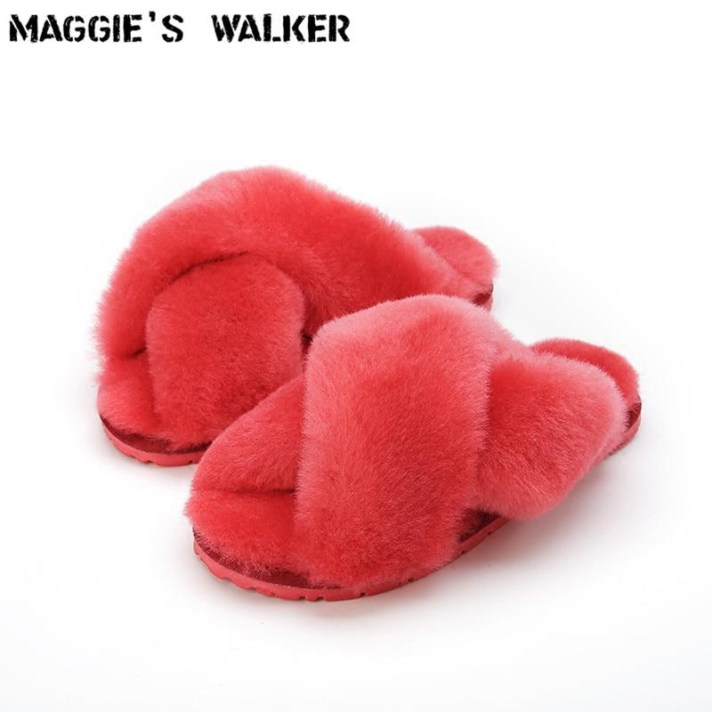 Мэгги Walker Для женщин овец Мех животных без каблука Шлёпанцы для женщин Для женщин зимние теплые тапочки на овец волос indoor Обувь размеры 35–40