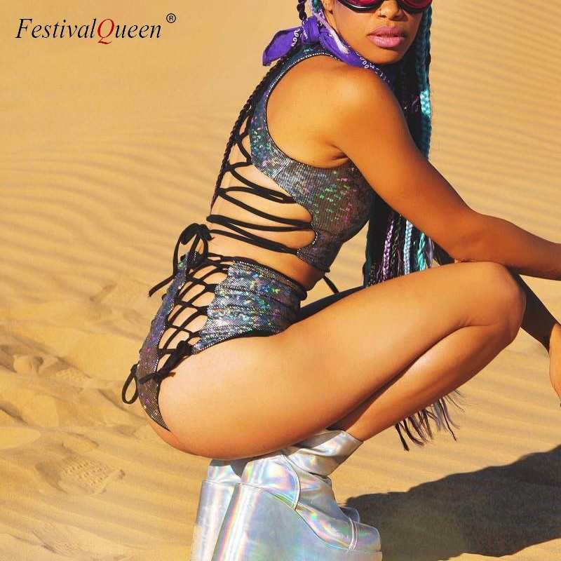 384040c35a ... Festival Queen Holographic Crop Top and Hot Shorts Women 2 Piece Sets  Sexy Lace Up Festival ...