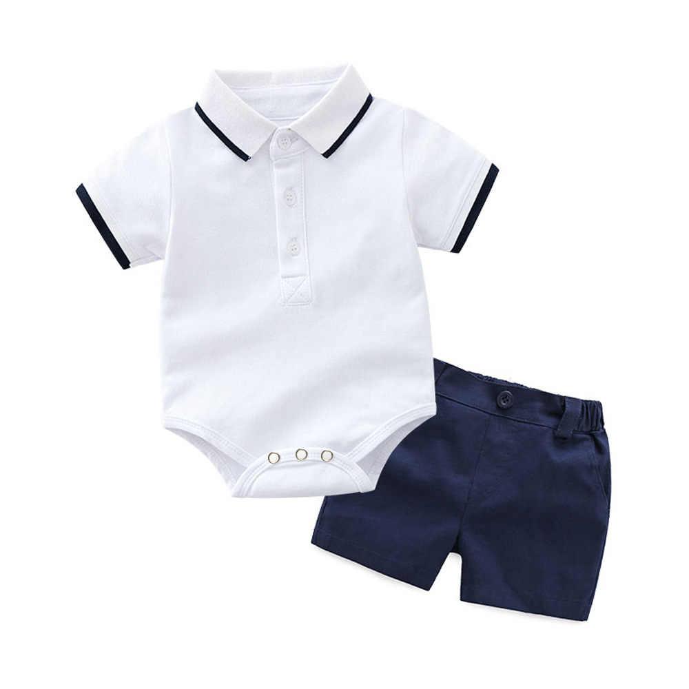 2019 летняя одежда для новорожденных мальчиков, Детский костюм для первого дня рождения, комбинезон с короткими рукавами + шорты, 2 предмета, Одежда для младенцев, 2 года, 6 месяцев