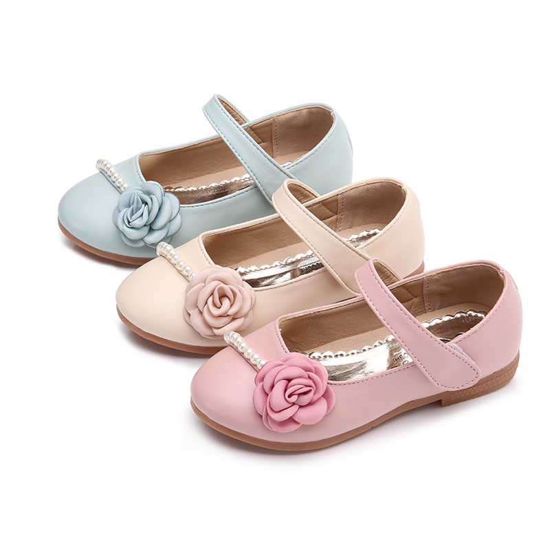 Bekamille Children Leather Shoes Autumn Kids Shoes For Girls Princess Flower Pearl Shoes Fashion Soft Bottom Sneakers SSJ009