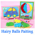 Creative Kids DIY Handmade Kits Kindergarten Toys Kids Paste Painting Plush Fur Balls DIY Handmade Kids DIY Crafts Sets DY17