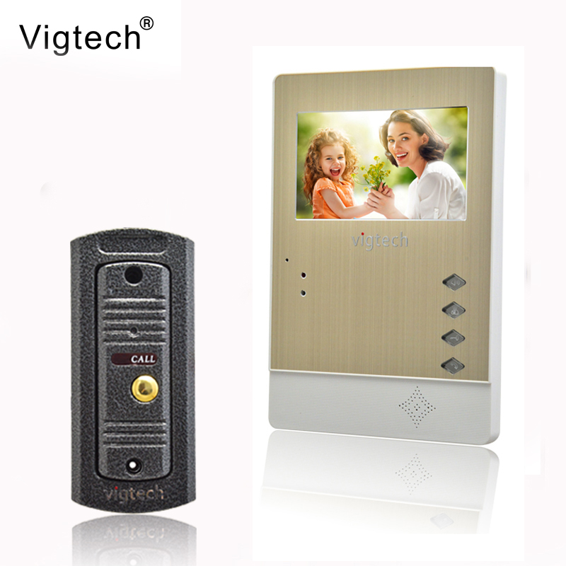 Vigtech4.3`` video intercom video doorphone speakerphone intercom system white monitor outdoor with waterproof & IR camera