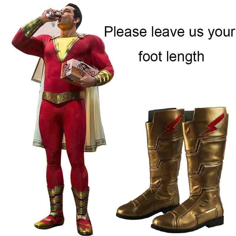 Капитан Марвел костюм Косплэй Shazam Билли бэтсон сапоги Для мужчин супергероя вечерние Золотой плоский только обувь индивидуальный заказ вз...