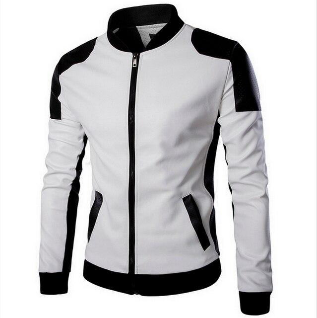 2016 новый Lether Куртки мужчины черный белый зимние Кожаные Jaquetas Куртки пальто Мужчины мужская Зимой Кожа и Замша большой куртка