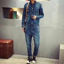 The 2017 wave of male personality cowboy leotard Korean cultivating Vintage Wash tooling men's denim jacket piece suit
