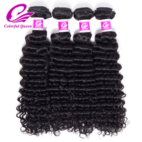 Colorful Queen Raw Indian Hair Bundles Deep Curly Wave 4 Pcs 100% Human Hair Weave Bundles Remy Hair Extensions Natural Color 1B