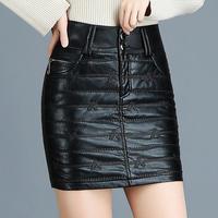 Woman Spring Plus Size Black Pu Skirts Female Autumn Oversized Slim Leather Skirt Women Winter Plus