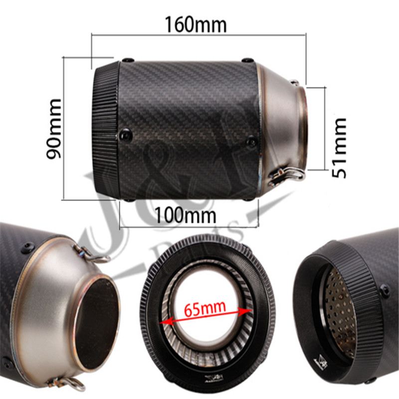 160mm long 51mm caliber motorcycle modified exhaust pipe muffler large displacement Stainless steel Carbon free shipping carbon fiber id 61mm motorcycle exhaust pipe with laser marking exhaust for large displacement motorcycle muffler