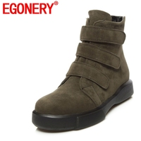 EGONERY woman ankle boots 2018 winter shoes woman low heel round toe buckle shoes good quality 3 color hook & loop shoes ladies