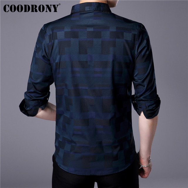 Mens Business Casual Shirts New Arrival Famous Brand Clothing Plaid 2