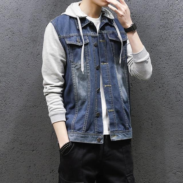 Mens Jacket Hooded 2018 Autumn Winter Fashion Men Cotton Patchwork