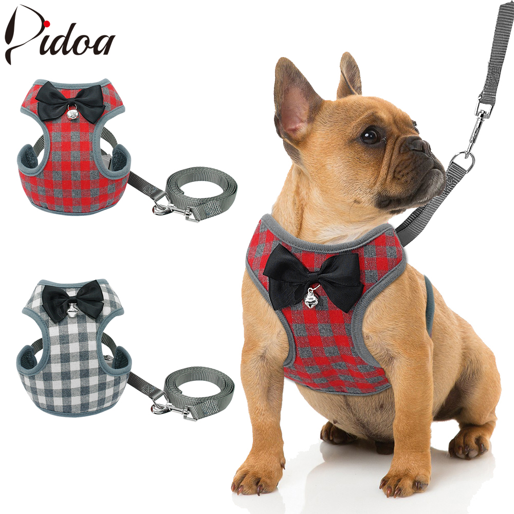 small dog harness and leash set pet cat vest harness with bowknot mesh padded for small puppy. Black Bedroom Furniture Sets. Home Design Ideas