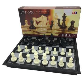 Mini juego de ajedrez magnético negro blanco plegable ajedrez juegos de mesa...