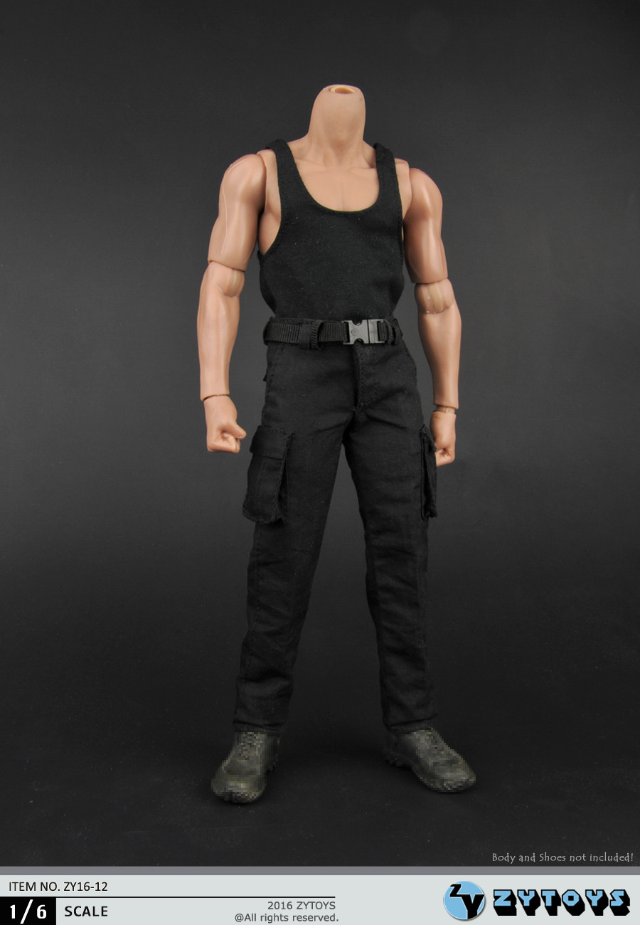 1/6 Male Colthes ZY16-12 Black Vest Combat Pants Male Vest & Pants Clothing Sets F 12'' Figure Body