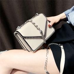 British Fashion Simple Small Square bag Women's Designer Handbag 2018 High-quality PU leather Rivet Tassel Chain Shoulder bags