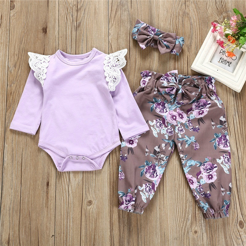 0 24 Months Baby Girls Flowers 3PCS Outfits Pure Cotton Romper Trousers Headband in Clothing Sets from Mother Kids