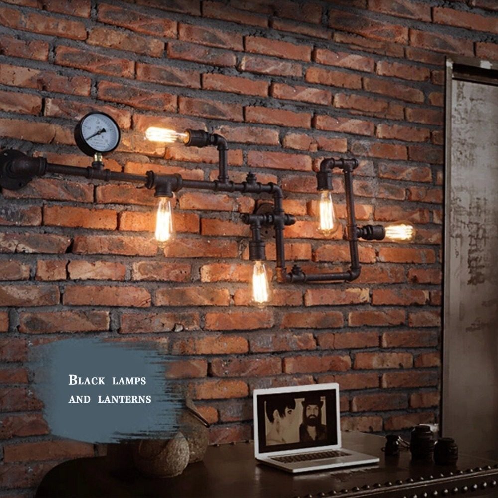 Vintage Steampunk Pipe Bar Wall Lamp Industrial Rustic Loft Fixture Fitting Bedroom Light E27 Art Decorative Lighting In Lamps From Lights
