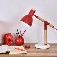 Ramię Lampy Biurko Z Drewna Litego Projektant Lampa Stołowa Mała Koreańska lampora doprowadziły mesa luminaria de escritorio Nowoczesny Oszczędny Mody