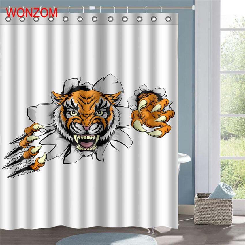 WONZOM 3D Polyester Fabric Elephant Lion Tiger Shower Curtains with 12 Hooks For Bathroom Decor Modern Bath Waterproof Curtain in Shower Curtains from Home Garden