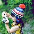 2016 nuevos Sombreros Del Bebé Niños Niños Del Sombrero Del Invierno Niños niñas niños Casquillos Calientes de Punto Accesorios de Coche de la Historieta Del Otoño