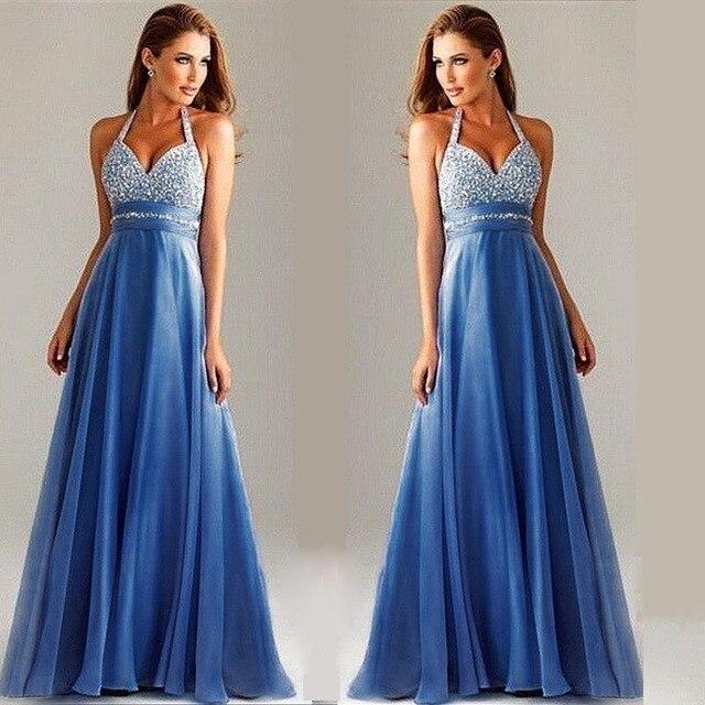 12e31e87892a € 16.3  Sexy Verano Azul Elegante Cuello En V Manga Larga de Encaje vestido  Ajustado Mujeres Moda Para Adelgazar Gasa Dividir Maxi Dress en Vestidos ...