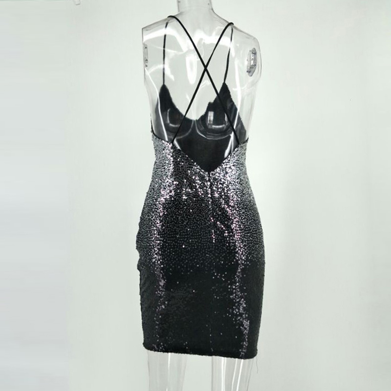75b8465edb7 Gradient Black Silver Party Sequin Dress 2018 Summer Women Dress Sexy Night Club  Backless Fashion Short Mini Dresses Vestidos-in Dresses from Women s ...