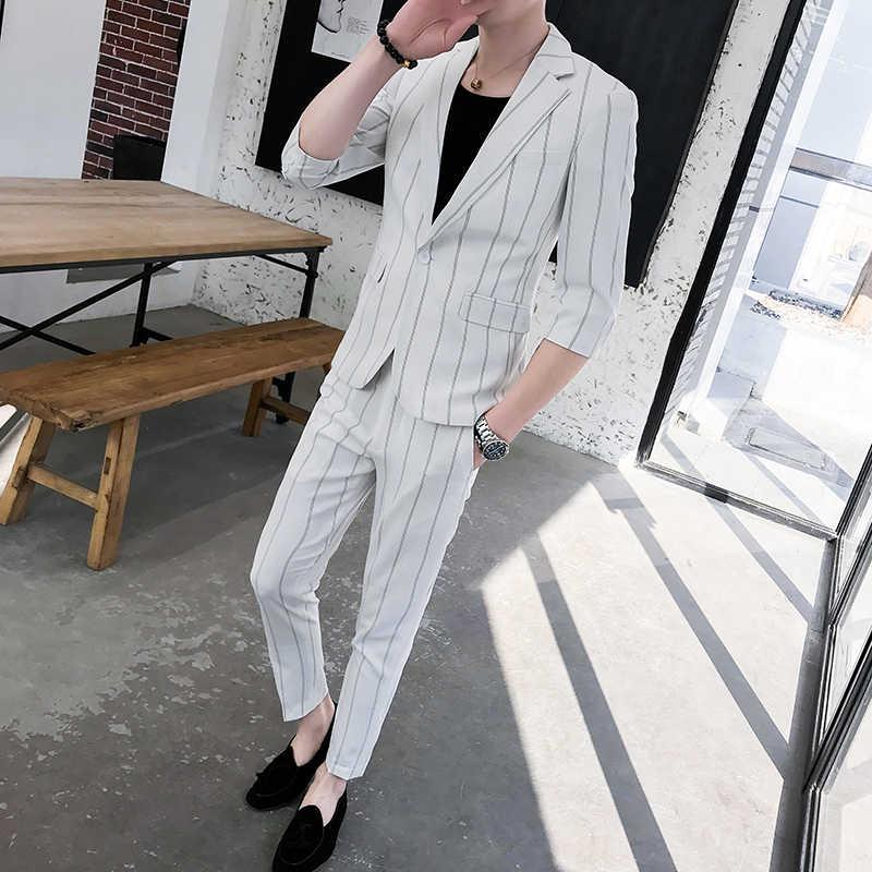 カスタム小型男性服の夏 2019 新メンズミドルスリーブスーツストライプツーピースファッション日本スリムスーツ