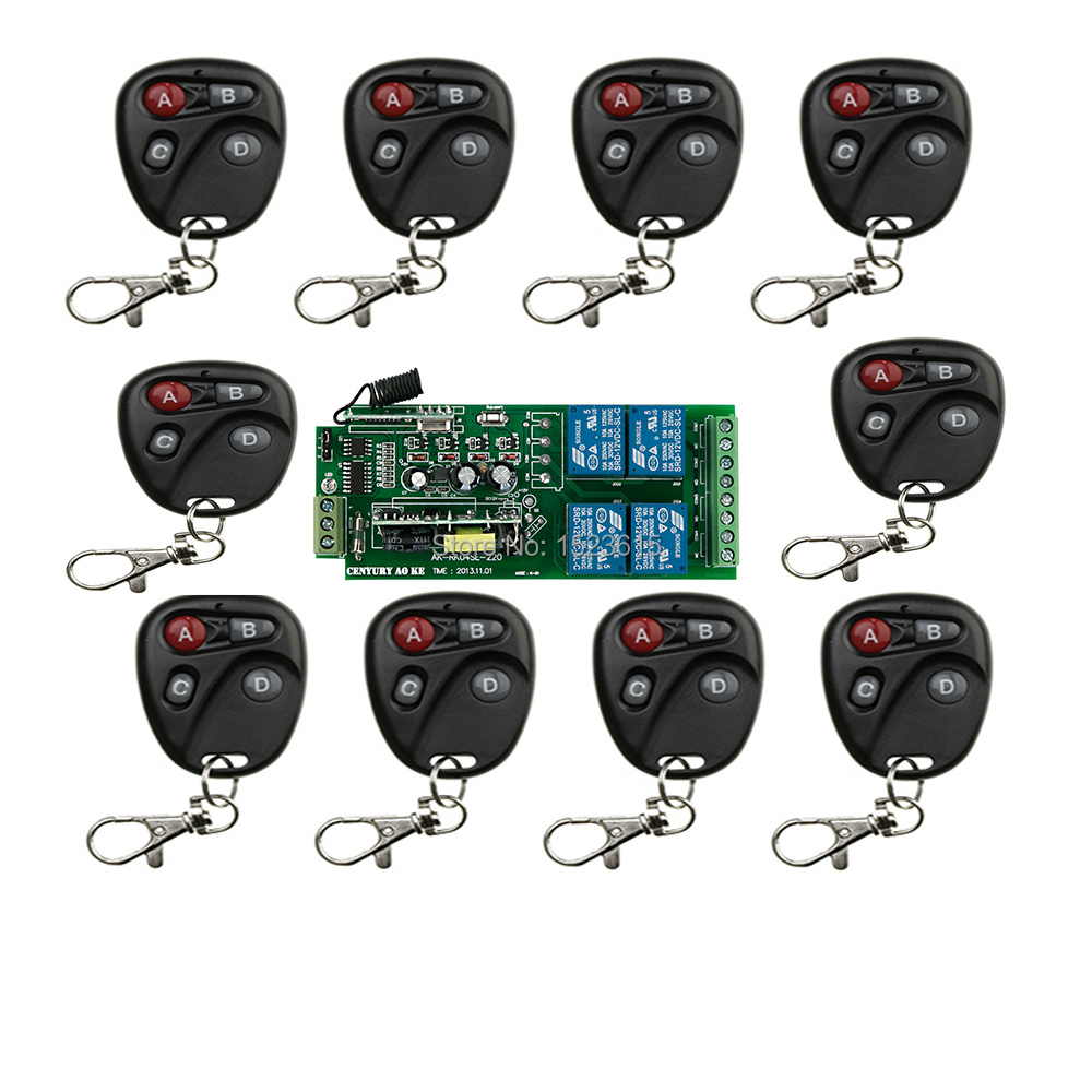85v~250V 4CH RF Wireless Remote Control Relay Switch Security System Garage Doors, Electric Doors & 1 x Receiver 10x Transmitter 85v 250v 4ch rf wireless remote control relay switch security system garage doors receiver mahogany color transmitter