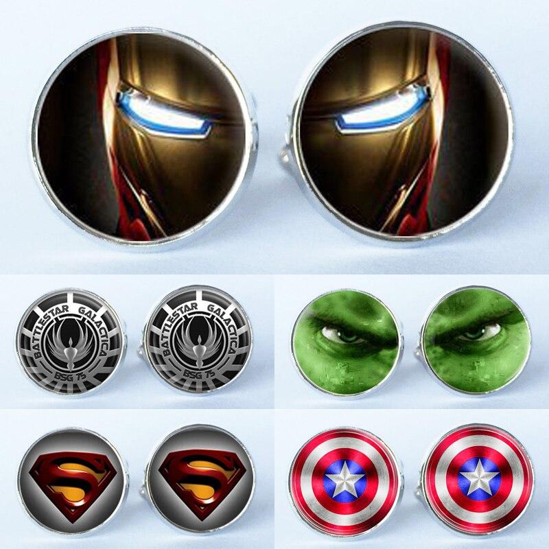 15 Styles Manufacturers Supply Glass Mosaic Super Hero Kid Cufflinks Cuff  Cuff Shirt Men Black Suit Movie Accessories
