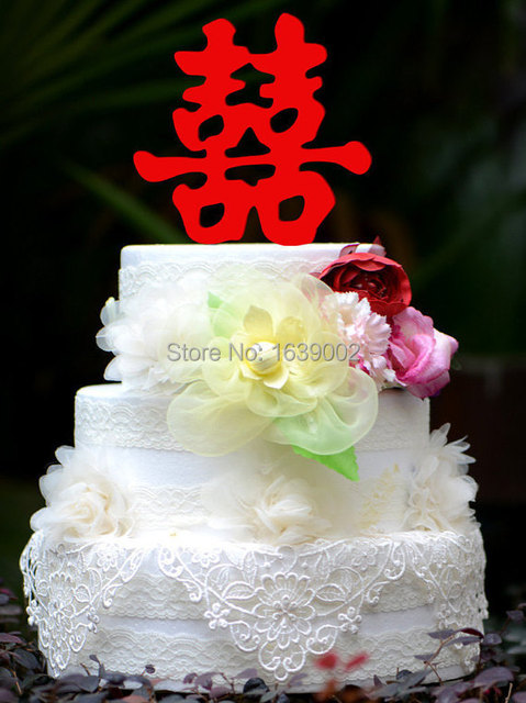 Double Happiness Style Chinese Wedding Cake Topper Acrylic Wholesale