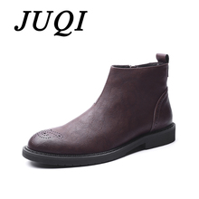 JUQI Genuine Leather Men Boots Autumn Winter Ankle Fashion Footwear Zip Shoes High Quality Brogue