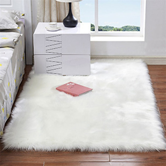 3 Sizes Soft Rectangle Faux Sheepskin Rug Fluffy Plush Sofa Carpet House Living Room Bedroom