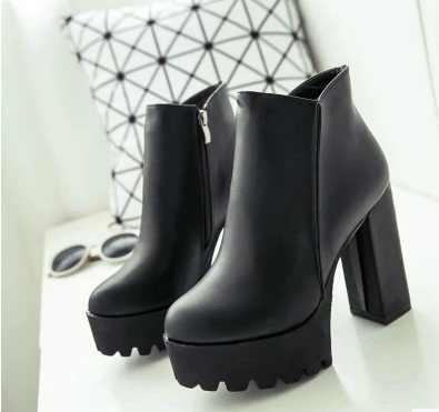 "SLYXSH נשים של האופנה צד ציפר קרסול מגפי פלטפורמה עבה גבוהה העקב 12 ס""מ גבירותיי מגפי חורף אישה נעליים שחור אתחול"