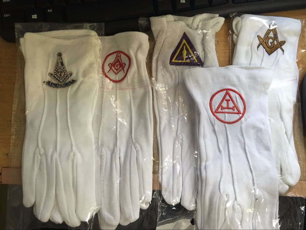 Hot Sale High Quality Masonic Gloves Mason Freedom Customized Made Embroidery Gloves N5