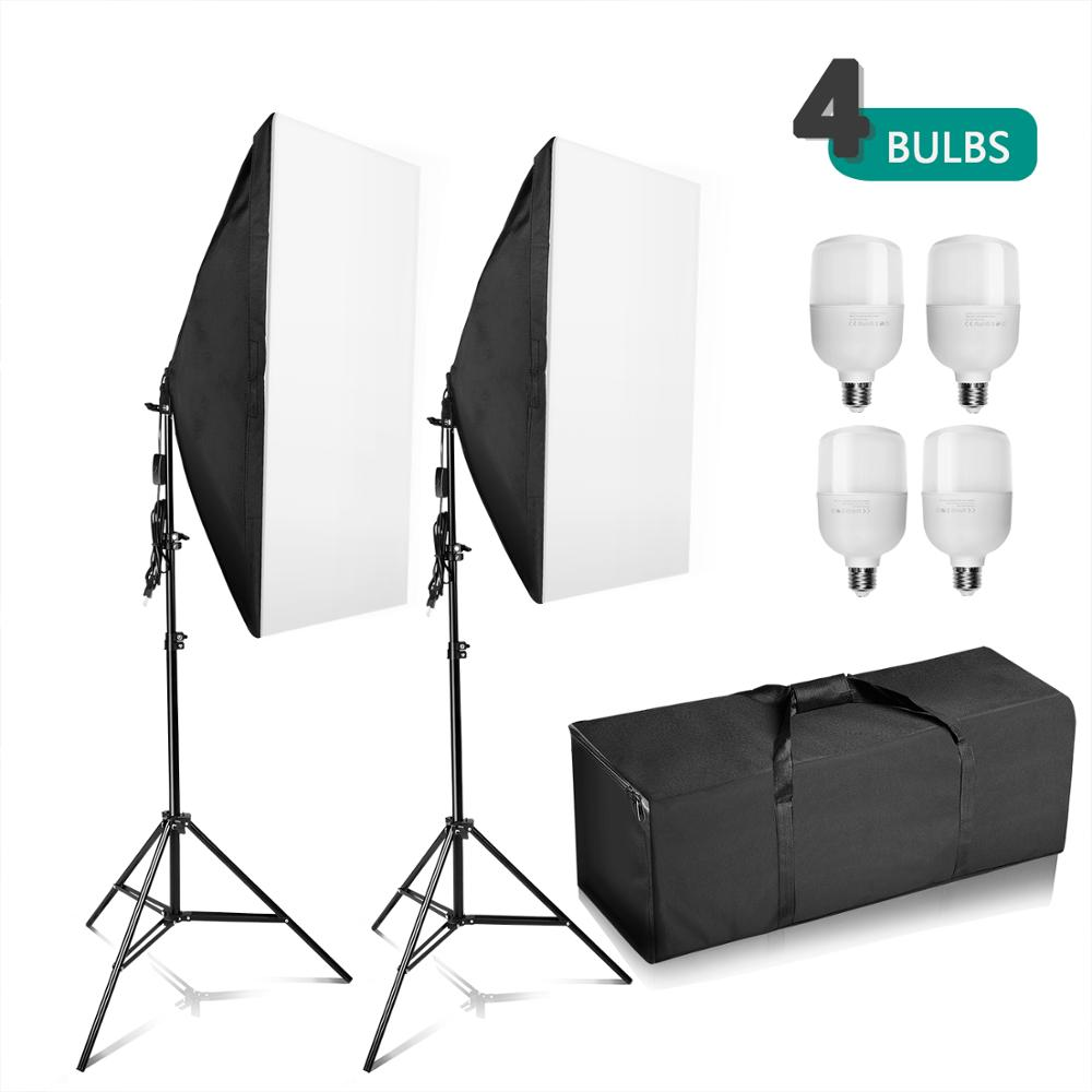 ZUOCHEN Photography Studio 4x 25W LED Softbox Lighting Stand Kit Photo Video Light Set