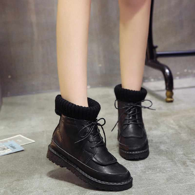 COOTELILI Kadın Çizmeler yarım çizmeler 2018 Kış Ayakkabı Dantel-up Örme düz ayakkabı lastik çizmeler Kadın deri ayakkabı 3 cm Topuk