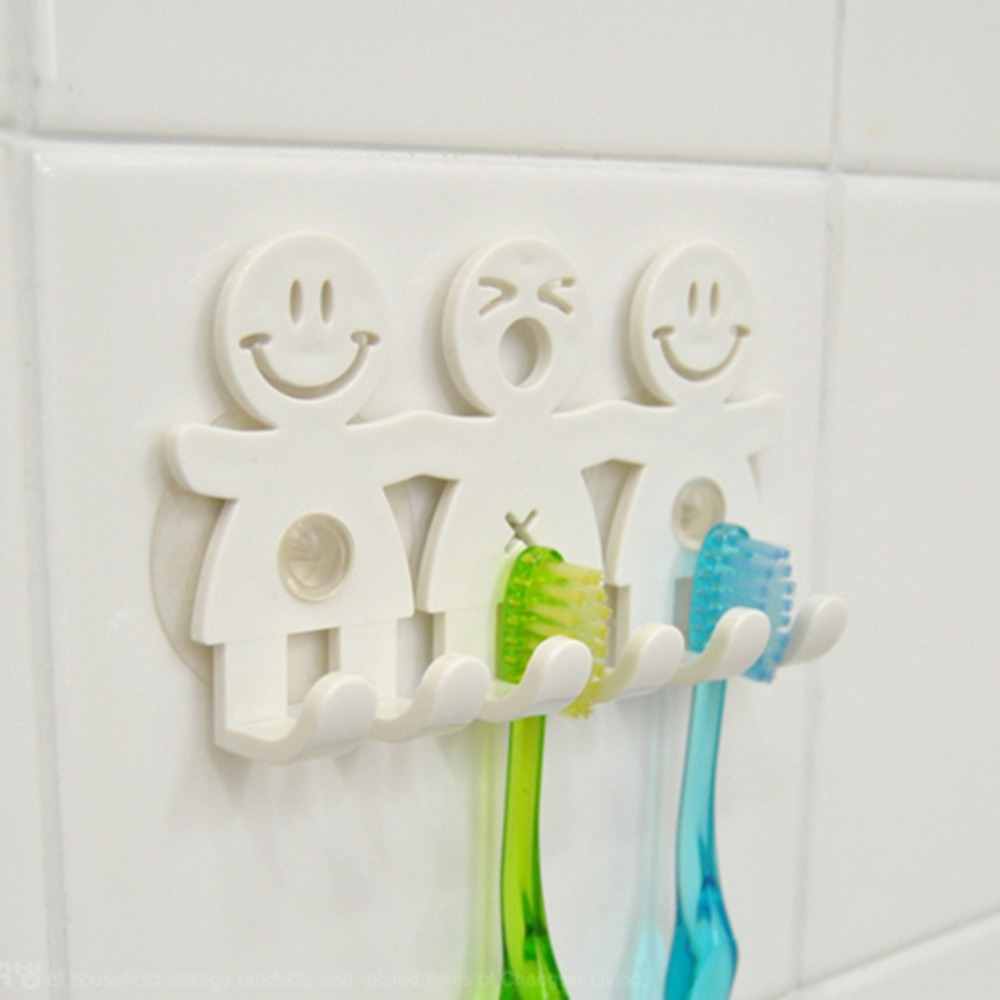1Pcs Smile Face Bathroom Kitchen Toothbrush Towel Holder Wall Sucker Hook White