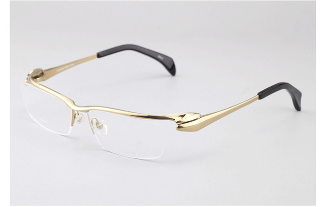 066d812409 Man Pure Titanium Eyeglasses Frame Men Myopia Semi Rimless Glasses Male  Classic Optical Top Quality Eyewear