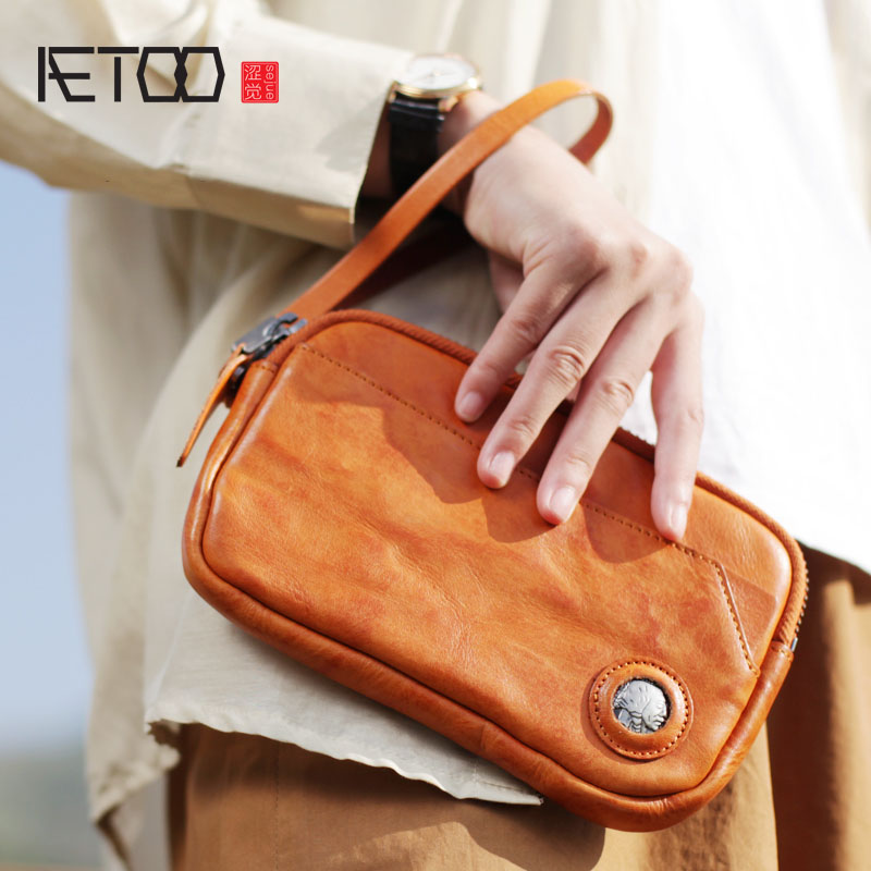 AETOO Original personality large capacity retro leather clutch bag men and women couple models handmade soft leather long zipper c pe030 promotions 100g chinese yunnan pu er tea cooked tea pu er tea rose flavor tea slimming health green food