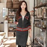 Originale al 2018 di marca primavera moda casual zipper manica lunga a due pezzi maglione lavorato a maglia con cappuccio cappotto e gonna set donne all'ingrosso