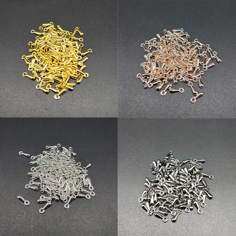 100 יח'\חבילה 2*7mm זול סוף חדש טיפות DIY מתכת חרוזים סוף להאריך את שרשרת זהב/ כסף מצופה עבור שרשרת צמיד מתנה