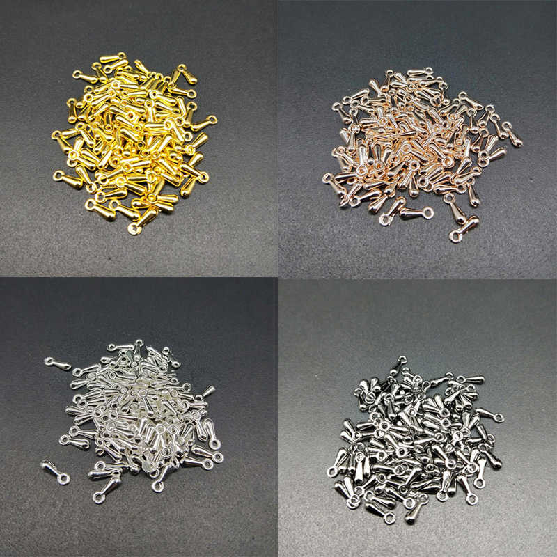 100pcs/lot 2*7mm Cheap New Ending Droplets DIY Metal Beads End Of Extend The Chain Gold/Silver Plated For Necklace Bracelet Gift