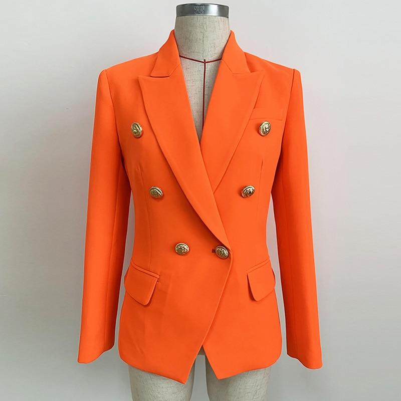Orange Blazer Femme Office Formal Double Breasted Buttons Blazer Fashion Elegant Autumn Long Sleeve Notched Feminino Blazer