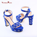 Women Pumps Pu Real 2017 Heels Dames Schoenen Decorative Women's Summer Shoes And Bags Heel Black/blue High-quality Fashion