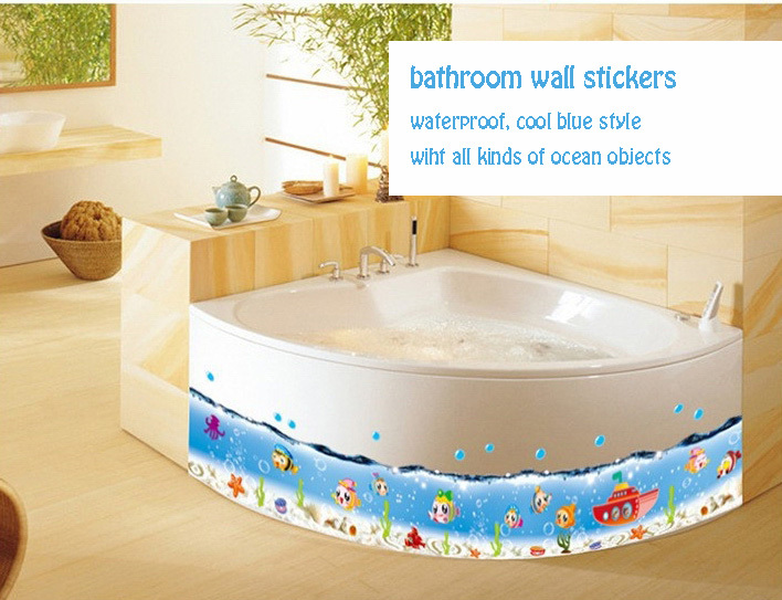 Blue Sea Fish Border Vinyl Wallpaper Bathroom Waterproof Ocean Wall Sticker  Decals Kitchen Shower Decor Large Original 70*50cm In Wall Stickers From  Home ...